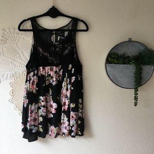 Torrid black pink floral crochet lace swing tank